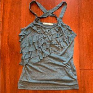 Maurices heathered, teal ruffled tank
